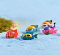 Wholesale Miniature Fish - 20Pcs Fairy Garden Miniature Tropical Fish assorted artificial mini fish decors resin crafts bonsai decors 3*1.9cm