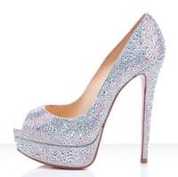 Wholesale Diamond Platform Shoes - Classic Brand Red Bottom rhinestone High Heels loubis Platform Pumps diamond wedding shoes Peep-toe Women Dress Wedding Shoes size 35-41