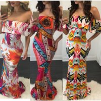 Wholesale Cheap Bodycon Maxi Dresses - Cheap Summer Maxi Floral Printed Dresses Women Long Dresses 2017 Off the Shoulder Beach Dresses Sheath Bodycon Floor-Length Holiday