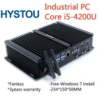 computer intel core i5 achat en gros de-Boîtier en alliage d'aluminium robuste pour ordinateur de bureau Intel Core i5 4200U sans ventilateur, PC intégré avec antennes Gigabit LAN HDMI VGA 300M WiFi