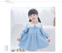 Wholesale Kids School Dress - new arrivals girl kids dress school style Long Sleeve big turn down collar 100% cotton dress charming elegant stripped print dress 2 colors