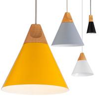 yatak odası için modern lambalar toptan satış-Ücretsiz kargo Ev Yemek Odası Kolye Lambaları Modern Renkli Restoran Kahve Yatak Odası Kolye Işıkları Demir Gerçek Ahşap Malzeme