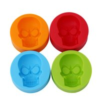 Wholesale Silicone Baking Molds Halloween - 4 Color Halloween Skeleton Skull Head Silicone Chocolate Candy Muffin Molds Ice Cube Tray Mold Kitchen Baking Moulds