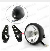 Wholesale Headlights Custom - 1set Motorcycle Headlight HeadLamp With Bracket For Honda Suzuki Yamaha Kawasaki Cruiser Bobber Chopper Custom light