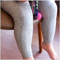 Wholesale Three Tight Pants Girls - 2017 New Girls Leggings Baby Nine Pant Toddler Big Children Trousers Cotton Three-dimensional Knitting Girl Cotton Linen Leggings 15 Colors