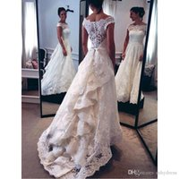 Wholesale Miss Dresses Com - Lace High Low Wedding Dresses 2017 Fashion Sheer Cap Sleeve Custom Made Bridal Gowns From China Vestido De Noiva Com Renda