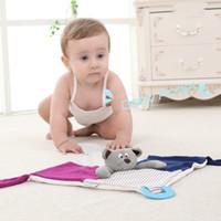 Wholesale Newborn Baby Handkerchief - Baby Toys Soft Towel Handkerchief Bear Comfort Appease Playmate Safety Short Plush Rattles Toy Newborn Babies Unisex