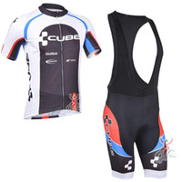 Wholesale Cube Jersey Bib - CUBE Men Cycling Jersey Quick-Dry Short Sleeve Bicycle Clothing Cycle Bike Clothes Sportwear MTB Bib Set Shorts
