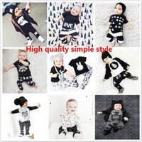 Wholesale Wholesale Month T Shirts - New Ins Hot Kids Sets Top T-shirt+Pants 2PCS Baby Clothing Romper 0-5T Casual Long Sleeve Suits Spring Children Clothes JC33