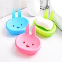 Wholesale Soap Rabbit - New cute Cartoon rabbit ear Bathroom Plastic ABS Soap Holder Kitchen Soap Dish Plate 13*10*3.5 cm 4 Color can Choose
