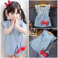 Wholesale Dress Denim Minnie - Minnie 2016 Denim Dress Kids Baby Girl Dress Children Mouse Denim Girls Party Dresses Sleeveless Girls Clothes with bow bag 1~4