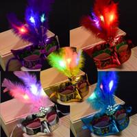 tatil maskeli maskeleri toptan satış-Tatil yüz maskesi Karışık renk Cadılar Bayramı LED Yüz maskesi Masquerade Cosplay cadılar bayramı hediye Venedik Topu Balo Parlayan LED Tüy Maske