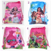 Wholesale School Bags Unisex - 1000 PCS Trolls Kids Backpacks Moana Drawstring Bags Cartoon Non Woven Sling Bag School Bags Girls Party Gift Bag Birthday YYA230