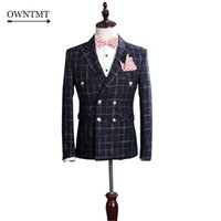 Wholesale Groom Wedding Dress Sets - Wholesale- Woolen blue Plaid Man Suit Fashion Custom Made Double-breasted Suit Set Casual High-quality Groom Wedding Dress Slim Fit Suit