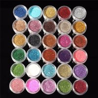Wholesale Wholesale Cosmetic Pigments - Wholesale-30pcs Mixed Colors Powder Pigment Glitter Mineral Spangle Eyeshadow Makeup Cosmetic Set Long-lasting 2016 Random Color