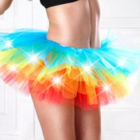 Wholesale Girl Mini Skirts Up Parties - Wholesale- Fashion LED Lighting Up Mesh Mini Skirt Colorful Fancy Ball Gown Dancing Ballet Tutu Skirt Women Girls Corset for Party