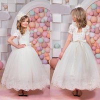 Wholesale Christmas Bows For Sale Cheap - Lovely 2017 Hot Sale Ivory Lace And Tulle Flower Girls Dresses For Weddings Cheap Short Sleeve Jewel Bow Sash Birthday Pageant Gowns EN1112