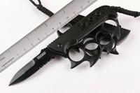 cuchillos de rescate al por mayor-TAC FORCE TF-793 titanio de bolsillo cuchillo plegable nudillo plumero táctico camping caza rescate EDC Serrated 3Cr13Mov EDC herramientas colección