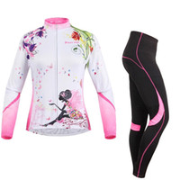 Wholesale Cycling Jersey Women Flower - Women's Cycling Running Long Sleeve Jersey+Pants Suit Outdoor Sports Wear Breathable Clothing Flower Fairy Camping Hiking Motorcycle Suit