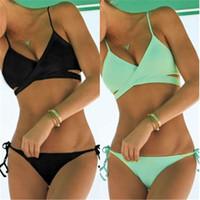 Wholesale Black Fashion Bikini - Women's Fashion Sunmmer Style Bikinis Set Beach Wear Lace-up Swim Suit Two-piece Suits