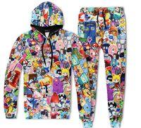 Wholesale Running Adventure - Cartoon Adventure Time 3D Print Men Women Pullovers Hoodie Sweatshirts + joggers pants Tracksuits Outfit Sweatpants Set