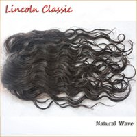 Wholesale Classic Indian Wave - Lincoln Classic Indian Virgin Human Hair 4x4 or 3.5 x4 Lace Closure with Bleached Knot natural wave Lace Closure Baby Hair free middle 3part