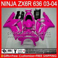 ingrosso zingere dentellare zx636-8Gifts 23Colors kit per KAWASAKI NINJA ZX 636 ZX 6R 03-04 600CC TUTTI Pink 29NO58 ZX-6R 2003 2004 ZX-636 ZX636 ZX6R 03 04 Carenatura Carrozzeria