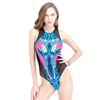 Wholesale Packaging Bikini - Package mail summer dress sleeveless sexy one-piece swimsuit Bird flower design printed triangle bikini