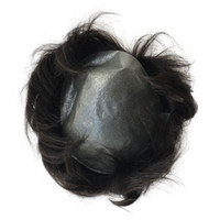 Wholesale super human hair wigs online - B zone Super Thin Skin PU V Loop Virgin Human Hair Mens Toupee