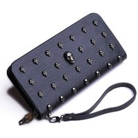 Wholesale Envelope Bag Clutch Fashion Vintage - 2017 New Cool Skull Wallets Boy Purses Men Women Long Wallet Retro Punk Skull Hand Clutches Fashion Unisex Envelope Bags Ghost Bags A007