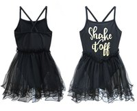 Wholesale Gymnastic Tutus - INS Girls Baby Black Party Ballet Tutu Dresses Girls Gymnastics Leotard Bodysuit Sleeveless Ruffled Tulle Letter Dance Tutu Dress 2-11Y