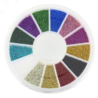 Wholesale Caviar Beads For Nails - Top Nail 12 Color Steels Beads Studs For Nails Metal Caviar Design Wheel Charms 3D Decorations Nail Art Supplies