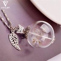 Wholesale Fairy Wish Necklace - Wholesale-viviLady Trendy Dandelion Seed Glass Drifting Bottle Pendant Necklace Women Chain Ball Heart Wish Moon Fairy Flower Jewelry Gift