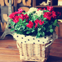Pastoral Handmade Round Decorative Wicker Basket flutuador vaso florido Flowerpots Containers for Artificial Flower home decor