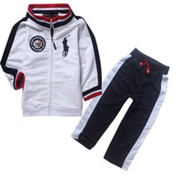 Wholesale Baby Horse Clothes - Wholesale- 2016 New Arrive Fashion Brand Horse style Factory Outlet Baby Boys Clothing Set Children Clothes Sets For kids Boys Costumes