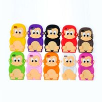 Wholesale iphone5 cute - Monkey shaped cell phone accessories for iphone4 and iphone5 with Cute Cartoon Silicone back cover fit for iphone