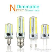 Wholesale Chandeliers Led Dimmable - Led Light G9 G4 Led Bulb E11 E12 14 E17 G8 Dimmable Lamps 110V 220V Spotlight Bulbs 3014 SMD 64 152 Leds light Sillcone Body for chandeliers