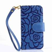 Wholesale Flower Frames For Photos - For iPhone7 Embossing Camellia Flower Wallet Leather Case Photo Frame Card Slot For iPhone 5 5S SE 6 6S 7 Plus Samsung Galaxy S6 S7 Edge