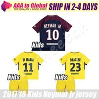Wholesale Boys Football Jersey Xl - kids Neymar soccer jersey 2018 children Di Maria football sets Verratti David Luiz t Silva Matuidi 17 18 boy Neymar jr football kits