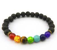 Wholesale Colorful Bracelets For Men - 20pcs New Top Plaza Men Women 8mm Colorful Lava Rock Beads Chakra Bracelet Black Healing Energy Stone Gemstone Bracelet for bag parts