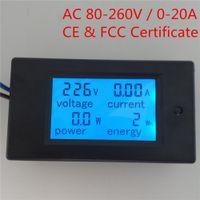 Wholesale Current Voltage Phase - PEACEFAIR Digital Single Phase AC 80-260V 0-20A 4IN1 voltage current power energy Watt Voltmeter Ammeter Panel Meter