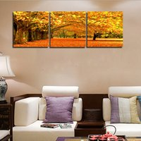 Wholesale Hotel Landscaping - 50*50Cm Living Room Home Decorative Paintings Oil Painting Golden Leaves Architect Landscape Paints Unframed Paintings For Hotel Wall Decor