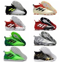 Wholesale Indoor Turf Football Shoes - Original ACE Tango 17 Purecontrol FG indoor soccer cleats turf IN soccer shoes 2017 ACE football boots Dragon Laceless boots Black Mens Red