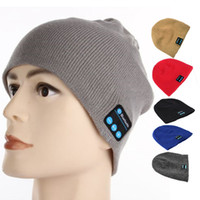 Wholesale Cap Headphones - Beanie Winter Hat With Bluetooth Music Warm Knit Cap Stereo Headphone Headset Speaker Wireless Mic Hands-free Hats for Men Women Gift V887