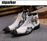 sapato de aço calçado homens venda por atacado-Luxo Homem Bonito Botas de alta ajuda com botas de couro do homem com dedos de aço apontou botas aumentou sapatos do homem de altura