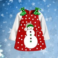 Wholesale Toddler Girls Winter Dress Coats - Baby Christmas Princess Dress Girl Clothing Kids Snowman Long Sleeve Dresses Dot Top Coat Toddler Outfit Age 2-6Y Hot Sale Boutique Clothes