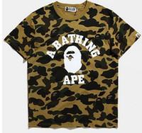 Wholesale Men S Mandarin Collar Shirt - PALACE T Shirts men short sleeve Hoodies brand shark print tshirt homme camouflage T-Shirt bap shark clothing free shipping