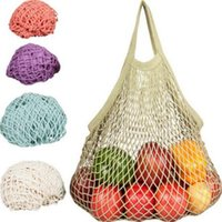 Wholesale foldable bags for shopping - Multifuction Fruits Vegetable Foldable Shopping Bag String Cotton Mesh Pouch For Sundries Juice Storage Bags CCA6351 100pcs
