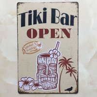 Wholesale Tiki Bar Open Signs - TIKI BAR OPEN tin sign Vintage home Bar Pub Hotel Restaurant Coffee Shop home Decorative Metal Retro Metal Poster Tin Sign