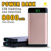 Wholesale usb external battery pack online - 8000Mah Power Bank External Battery Pack Charger Dual USB SOS Function with LED Light for Samsung Xiaomi
